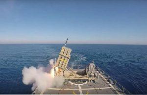 """ניסוי כיפת ברזל מסיפון ספינת חיל הים צילום: דובר צה""""ל"""
