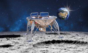 """הדמיית החללית """"בראשית"""" על פני הירח. (באדיבות SpaceIL)"""